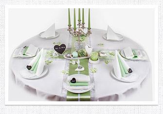 Tischdeko in Lindgrün