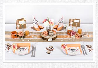 Tischdeko in Apricot