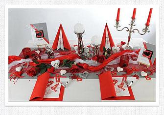 Tischdeko in Silber-Rot