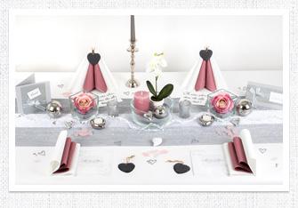 Tischdeko in Silber-Altrosa