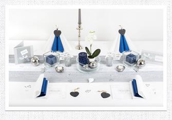 Tischdeko in Silber-Blau