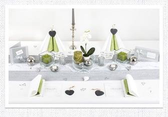 Tischdeko in Silber-Grün