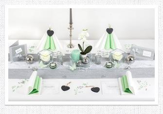 Tischdeko in Silber-Mintgrün