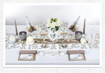 Tischdeko in Silber