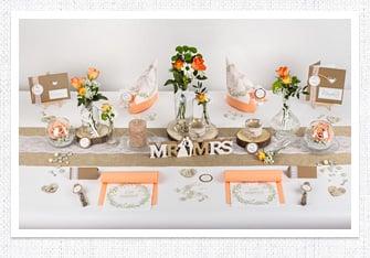Tischdeko Vintage Hochzeit in Apricot