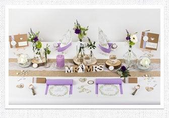 Tischdeko Vintage Hochzeit in Flieder