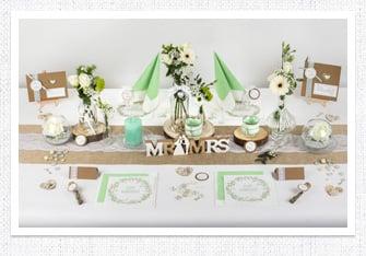 Tischdeko Vintage Hochzeit in Mint