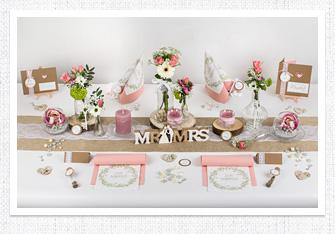 Tischdeko Vintage Hochzeit in Rosa