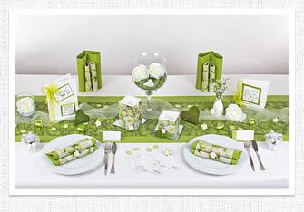 Tischdeko in Weiß-Grün