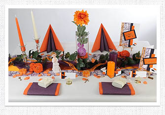 7. Mustertisch - Tischdeko Kommunion, Konfirmation in Orange-Aubergine