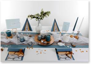 Kommunion Tischdeko in Blau Bronce