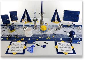 Kommunion Tischdeko in Weiß Blau