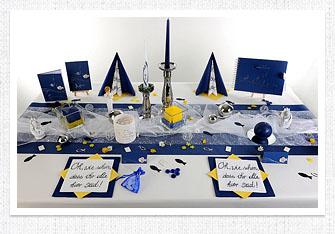 Kommunion Tischdeko in Dunkeblau-Gelb