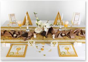 Kommunion Tischdeko in Gold