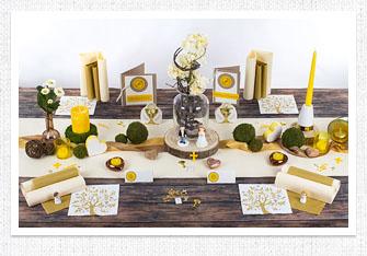 Kommunion Tischdeko Frühlingsfrisch in Gelb