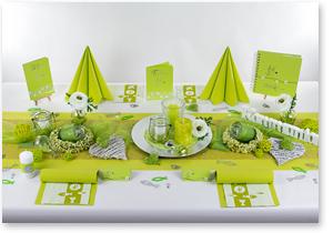 Kommunion Tischdeko in Grün