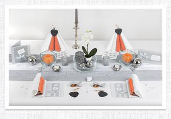 Kommunion Tischdeko in Silber-Orange