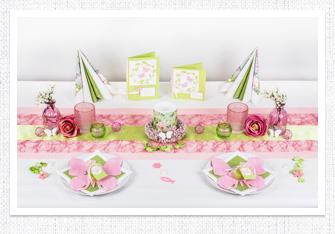 Kommunion Tischdeko Schmetterling in Hellgrün-Rosa