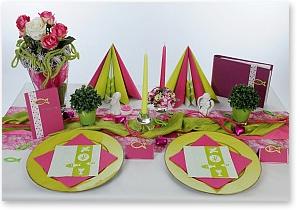 Kommunion Tischdeko in Pink