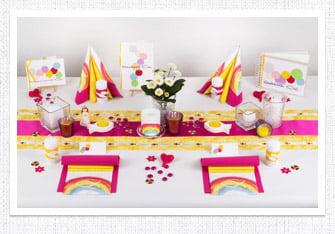 Kommunion Tischdeko Regenbogen in Pink-Gelb