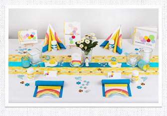 7. Mustertisch - Tischdeko Kommunion, Konfirmation Regenbogen in Türkis-Gelb