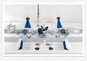 Kommunion Tischdeko in Silber-Dunkelblau