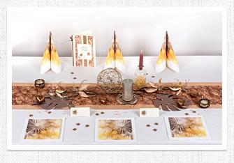 Tischdeko in Bronze-Rosegold