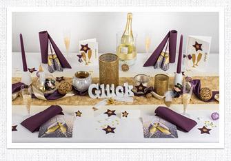 Tischdeko in Lila-Gold
