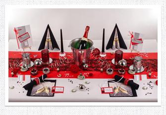 Tischdeko in Schwarz-Rot