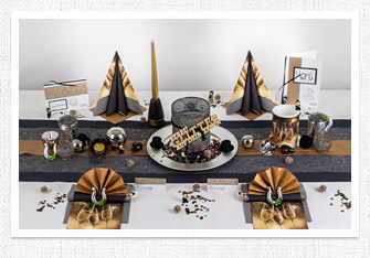 Tischdeko Silvester in Schwarz-Kupfer
