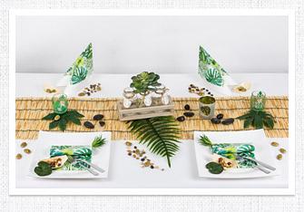 Sommer Tischdeko Bambus und Monstera
