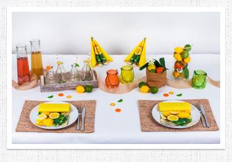 Tischdeko Bunte Früchte
