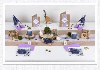 Tischdeko Lavendeldeko