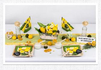 Sommer Tischdeko Zitronen Minibar