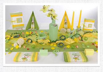 Tischdeko in Grün-Gelb