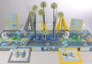 Tischdeko in Hellblau Gelb