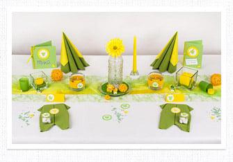 Tischdeko in den Farben Grün-Gelb