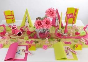 Tischdeko in Kiwi Pink