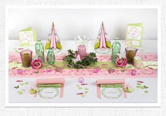 Tischdeko in Grün-Rosa
