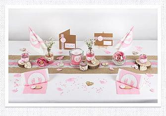Tischdeko Vintage Stil in Rosa