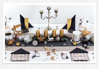 Tischdeko Weihnachten in Silber