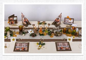 Tischdeko Weihnachten in Kupfer-Braun