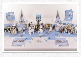 Tischdeko Weihnachten in Hellblau