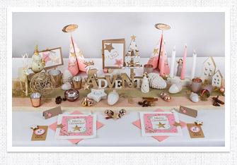 Tischdeko Weihnachten in Harmonie in Pastell