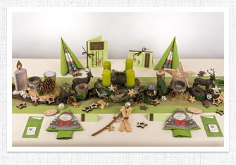 Tischdeko Weihnachten in Grün
