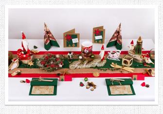 Tischdeko Weihnachten in Jute in Rot-Grün