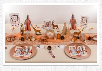 Tischdeko Weihnachten in Roségold