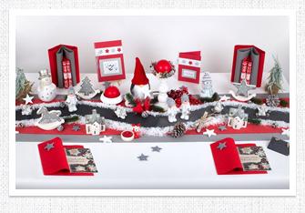 Tischdeko Weihnachten in Rot-Schiefergrau