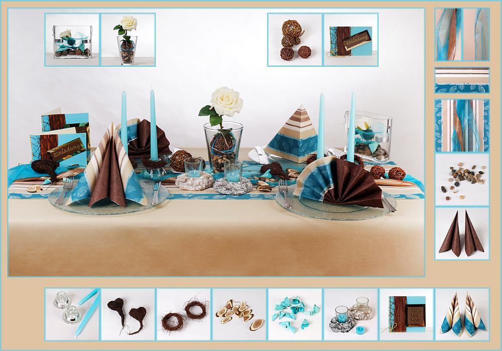 Tischdeko geburtstag 2 in braun blau als mustertisch for Tafel deko