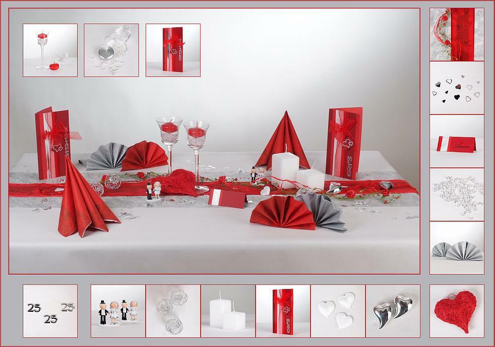 12 mustertisch rot ist die farbe der liebe tischdeko silberne hochzeit. Black Bedroom Furniture Sets. Home Design Ideas